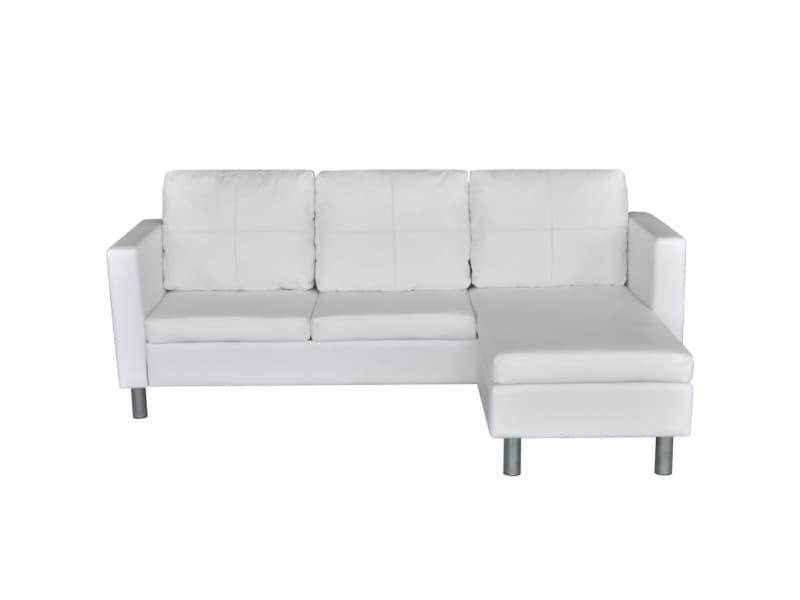 Vidaxl canapé sectionnel à 3 places cuir synthétique blanc 241980