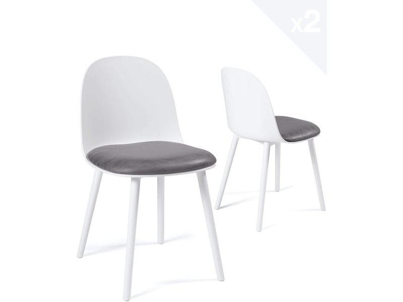 Lot de 2 chaises cuisine design coussin intégré UFI (blanc-gris) 643