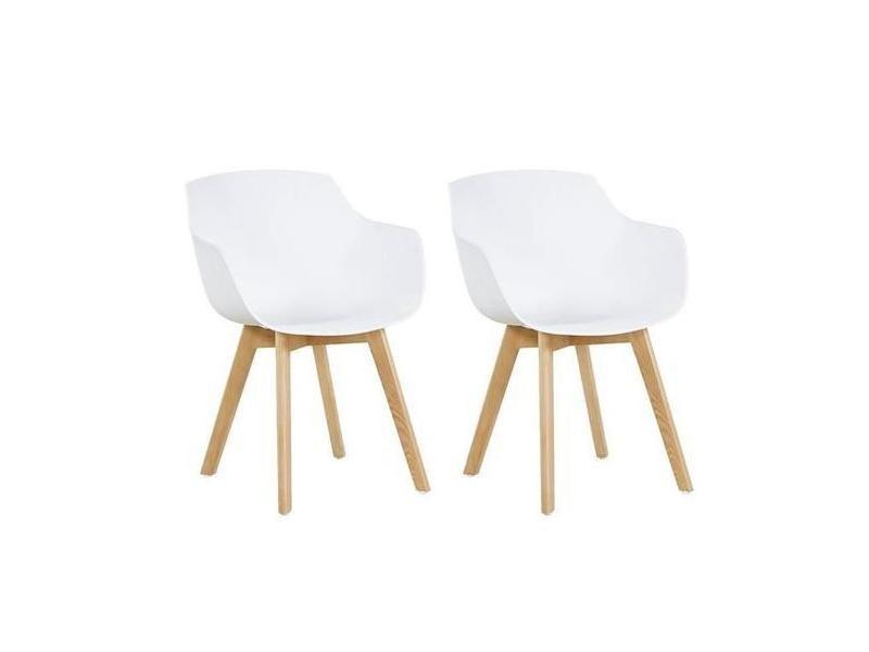Lot de 2 chaise salle à manger fauteuils scandinave de cuisine avec pieds en bois de hêtre massif blanc