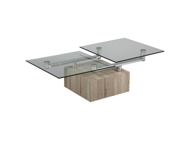 Table basse tree en verre transparent plateaux pivotants 20100841529
