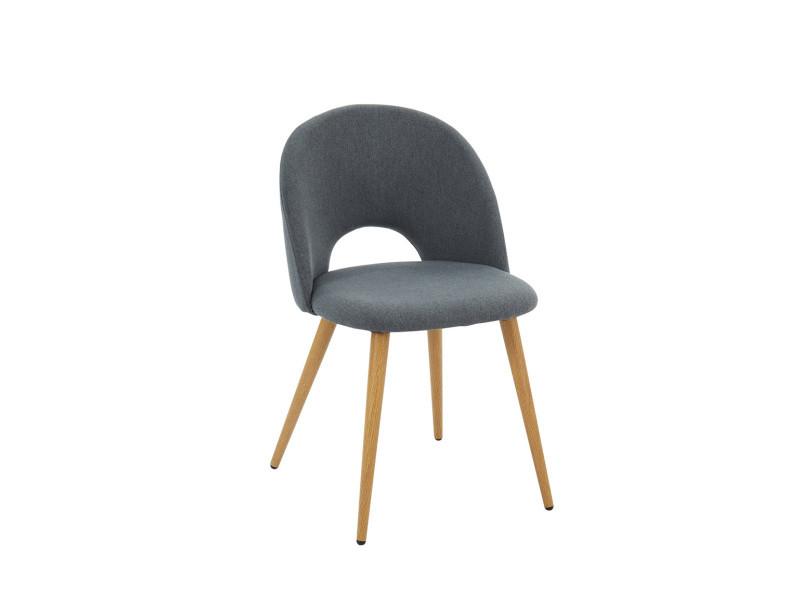 Chaise coloris gris en tissu et métal / imitation bois - dim : 50 x 55 x 77 cm -pegane-