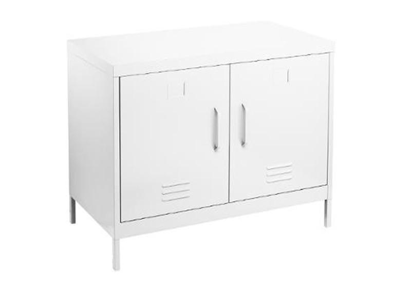 Console avec 2 portes en métal coloris blanc - 91,4 x 45,7 x 63,8 cm -pegane-