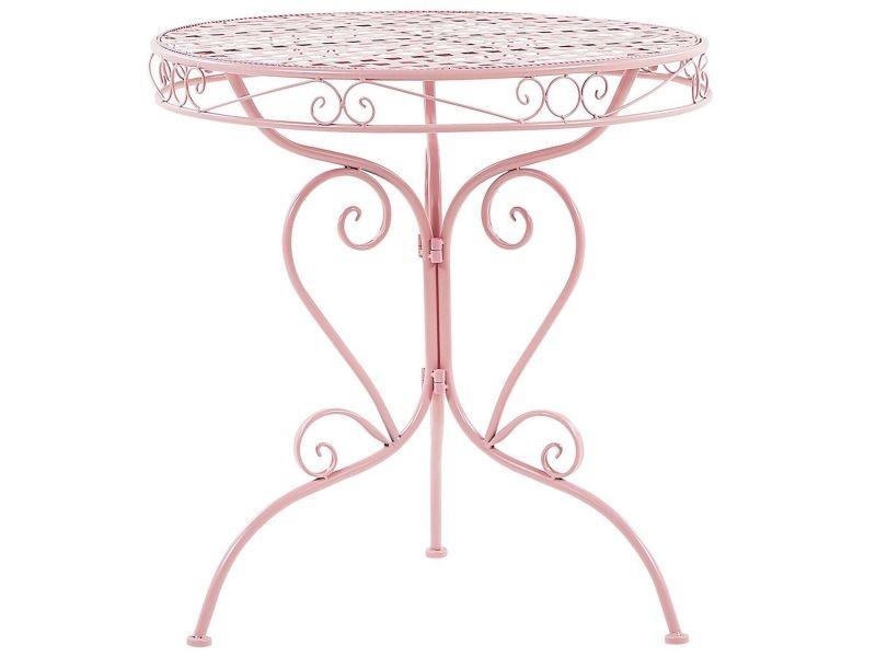 Table ronde de jardin bistrot en métal rose albinia 208100