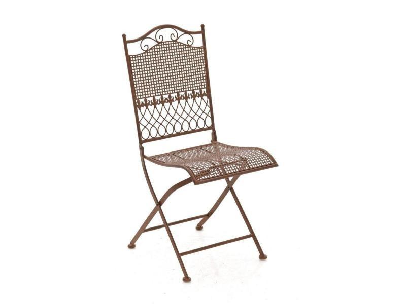 Chaise de jardin en fer forgé marron vieilli mdj10022 - Vente de ...