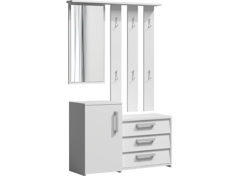 Serna - meuble d'entrée - porte-manteau + miroir + armoire à chaussures - 6 crochets - 180x99x36 cm - blanc