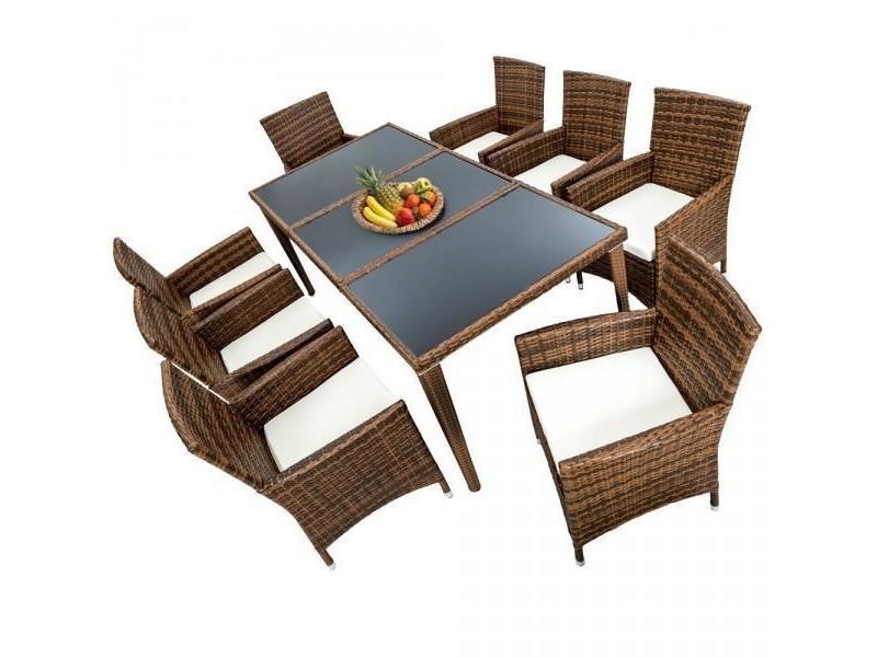 Salon de jardin 8 chaises rotin résine tressé synthétique marron + coussins + housses helloshop26 2108006