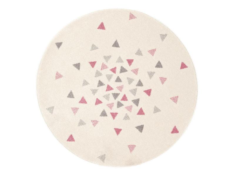 Tapis Enfant Rond Scandinave Gris Et Rose Motif Triangle 120cm