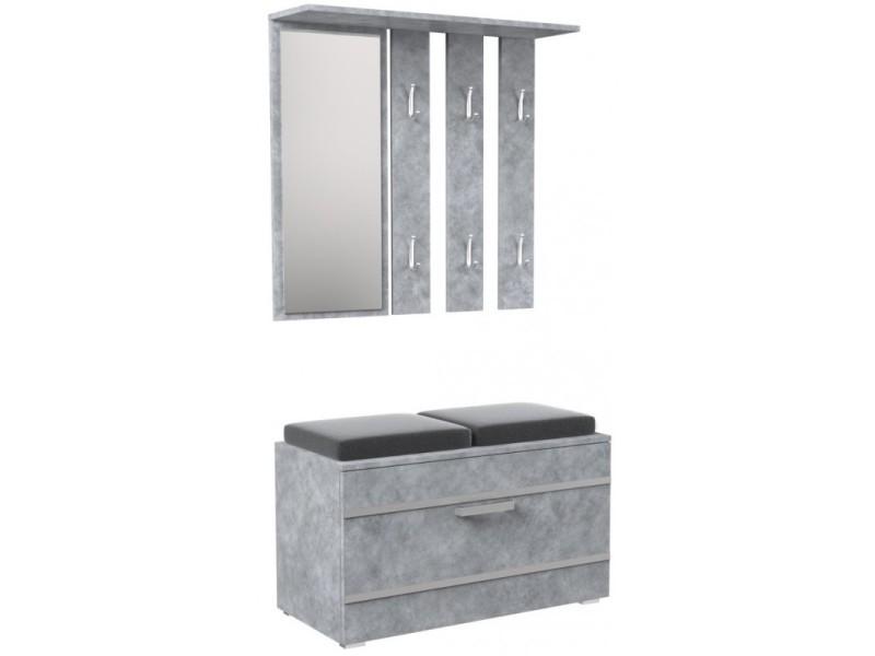 Kathi - meuble d'entrée miroir + banc  dimensions 35x85x180 - banc de rangement à chaussures - 6 crochets - vestiaire - gris