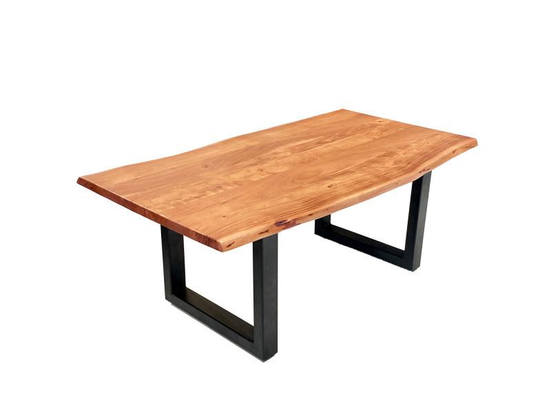 Table basse bergen bois massif acacia bords naturels pieds métal