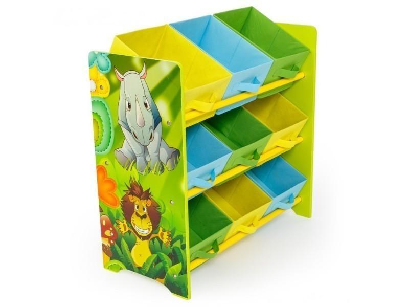 Meuble de rangement étagère jouet panier chambre enfant motif jungle ...