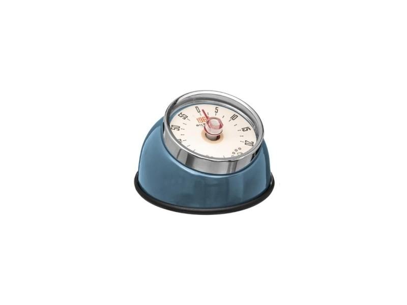 Minuteur retro magnétique - 8 x 5,5 cm - inox - bleu