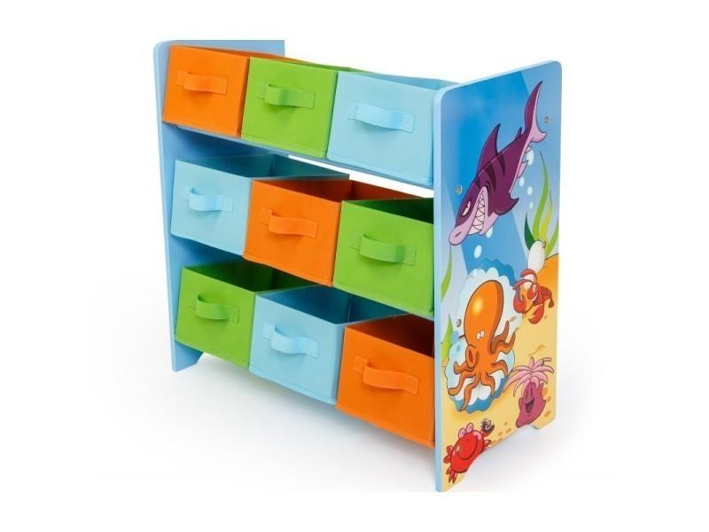 meuble de rangement tag re jouet panier chambre enfant motif mer ape06026 vente de armoire. Black Bedroom Furniture Sets. Home Design Ideas