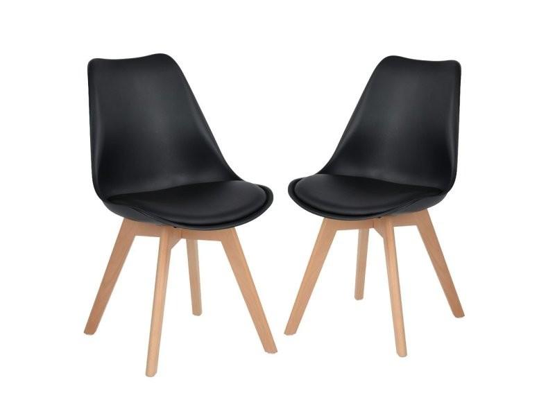 Lot de 2 chaises design contemporain nordique scandinave -tulipe chaises- pieds en bois de h¨ºtre massif - noir