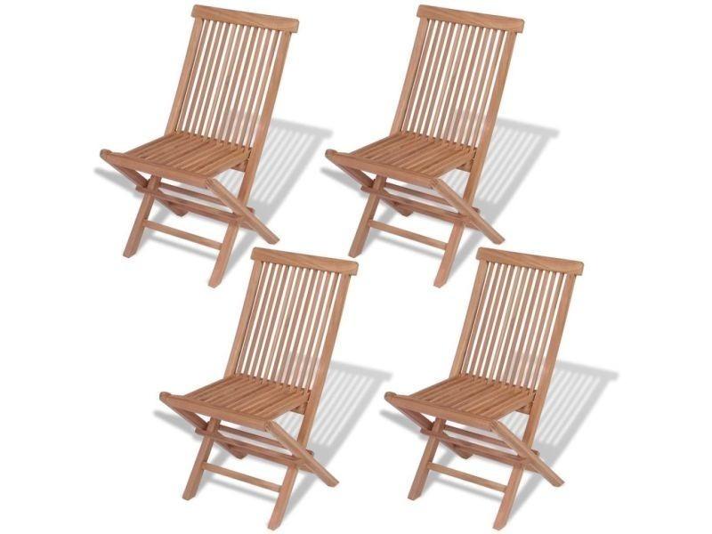Vidaxl chaises pliables de jardin 4 pcs bois de teck solide 43040 ...