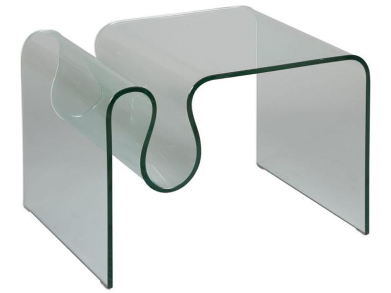 Bout de canapé en verre, l.60 x l.50 x ht.45 cm -pegane-
