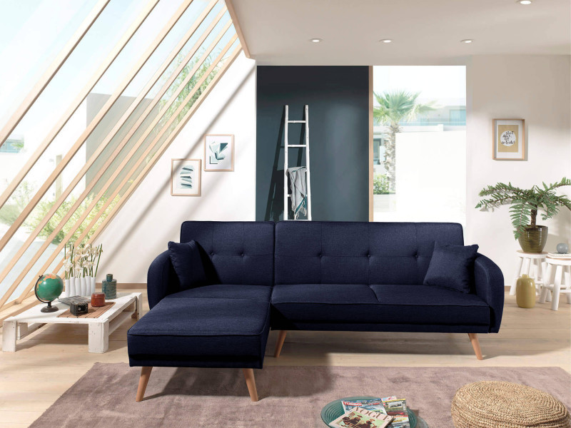 folke canap d 39 angle r versible scandinave convertible en tissu 239x85x158cm couleur bleu. Black Bedroom Furniture Sets. Home Design Ideas