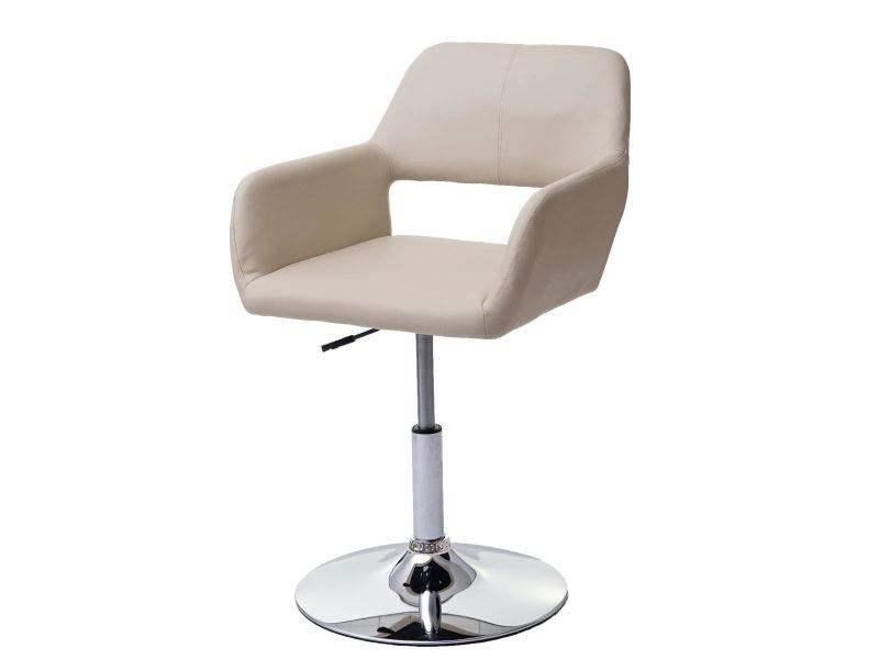 Chaise de salle à manger hwc-a50 iii, style rétro années 50, similicuir ~ crème, pied en métal aspect chromé