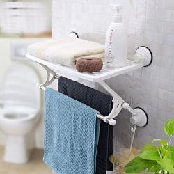 Etagère avec porte-serviettes en plastique , pvc et inox