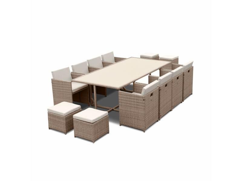 Salon de jardin 8-12 places – vabo – coloris beige. Coussins beige. Table encastrable