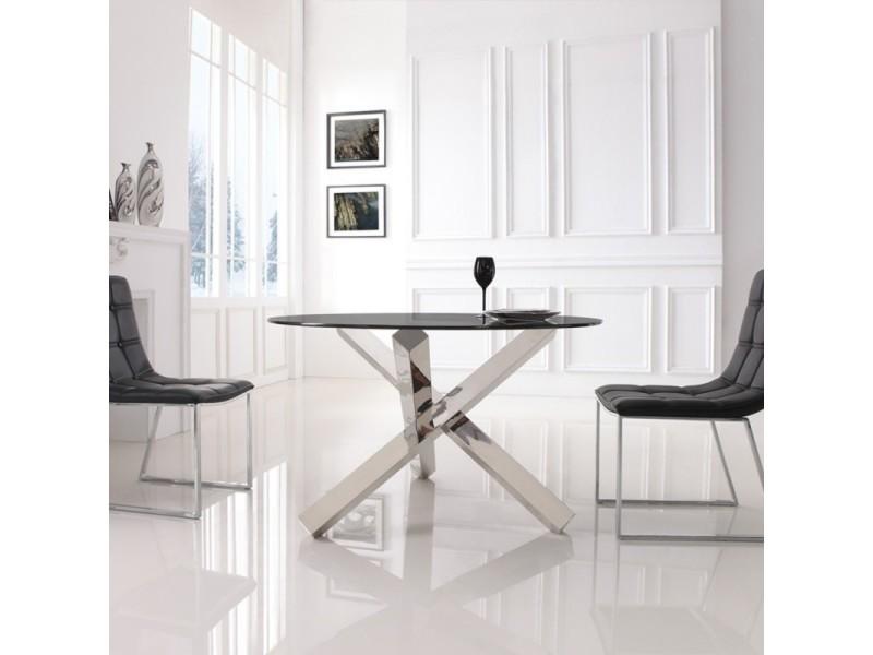 Table A Manger Ronde En Verre Transparent Elia Vente De Meubler