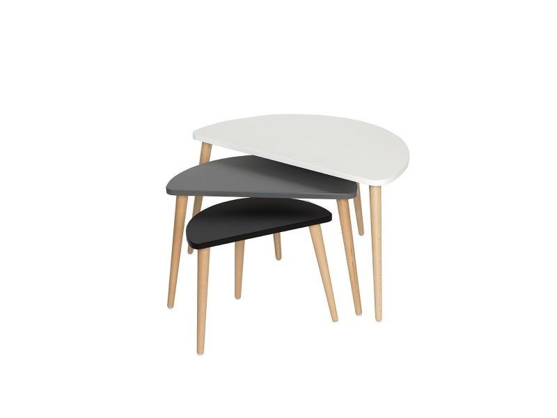 Myriam - set de 3 tables gigognes - style scandinave - nuances de gris