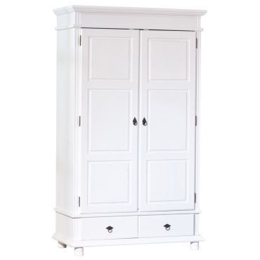 armoire 2 portes et 2 tiroirs en pin massif blanc vente de comforium conforama. Black Bedroom Furniture Sets. Home Design Ideas