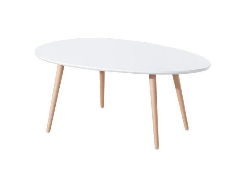 Table basse stone table basse ovale scandinave blanc laqué - l 98 x l 61 cm