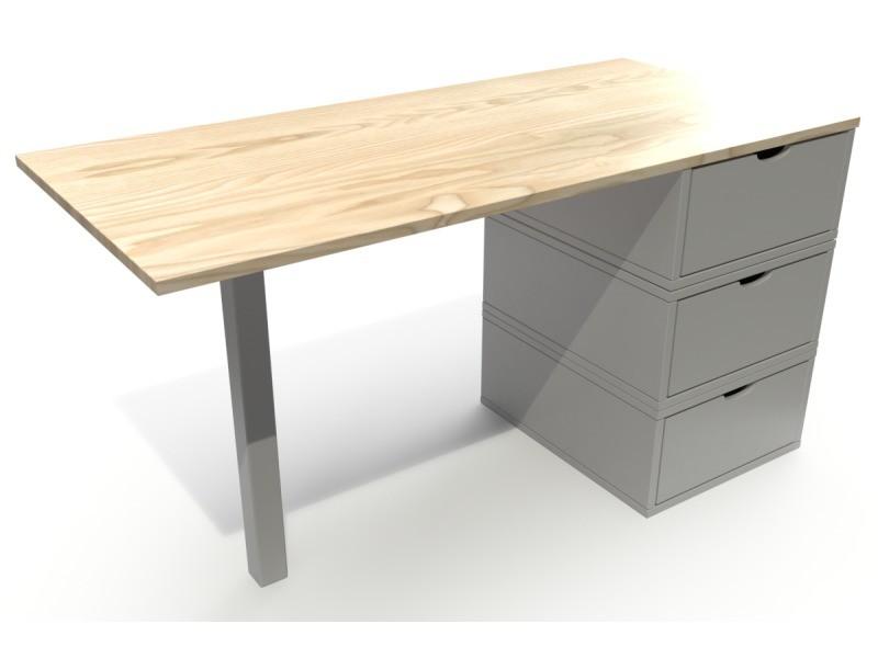 Bureau bois 3 tiroirs cube vernis naturel/gris BUR3T-VG