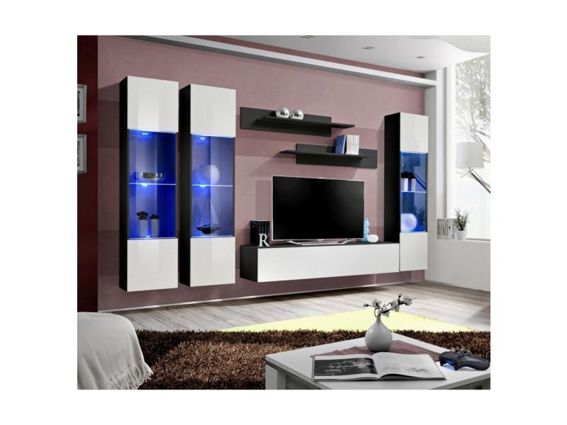 Ensemble meuble tv mural - fly iii - 310 cm x 190 cm x 40 cm - noir et blanc