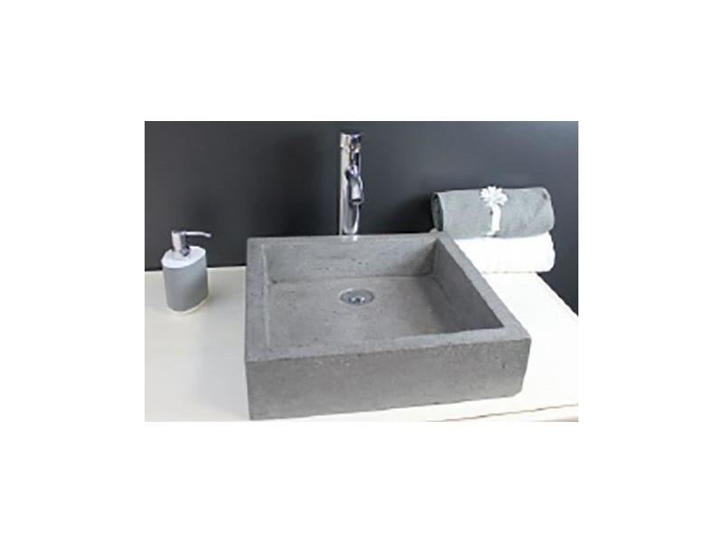 Aqua+ - vasque en terrazzo 40x40 gris ciment - timbre