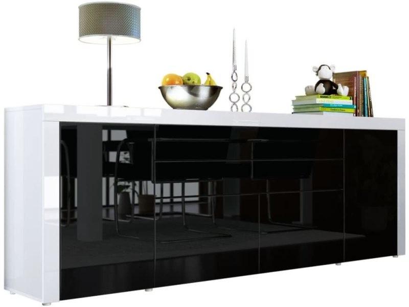Buffet noir / blanc haute brillance 200 cm