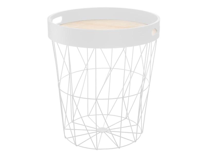 Atmosphera - table à café coloris blanc kumi avec plateau amovible