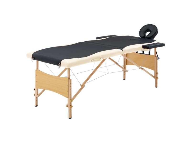 Moderne massage et relaxation reference luanda table de massage pliable 2 zones bois noir et beige