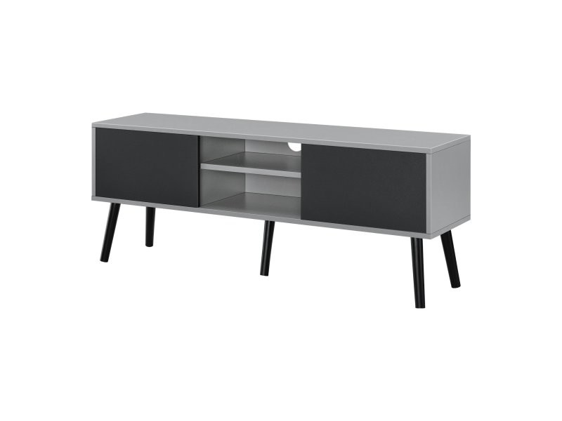 Meuble tv design support télé pvc 120 cm noir gris clair helloshop26 03_0005866