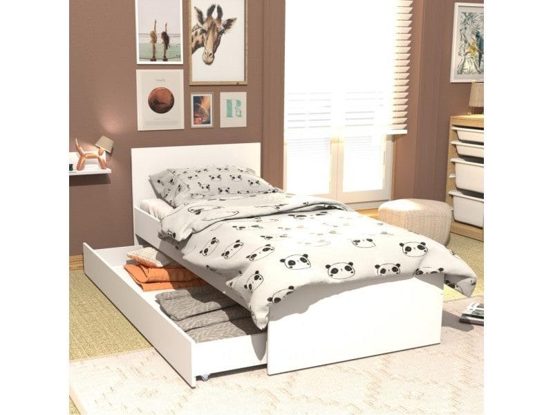Lit X Cm Avec Tête De Lit Et Un Tiroir Oslo Blanc - Tete de lit tiroir
