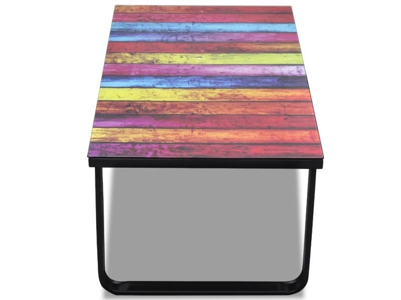 Musique Multicolore Verre 90 45 Design X De Table Cm Basse Salon W9HYD2EI
