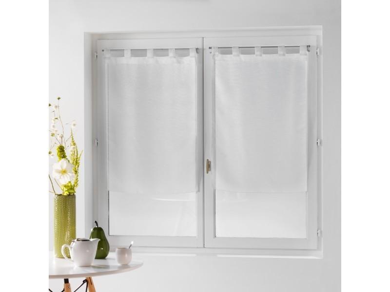 une paire de rideau voilage 60 x 160 cm coupe dandy blanc vente de rideau voilage store. Black Bedroom Furniture Sets. Home Design Ideas