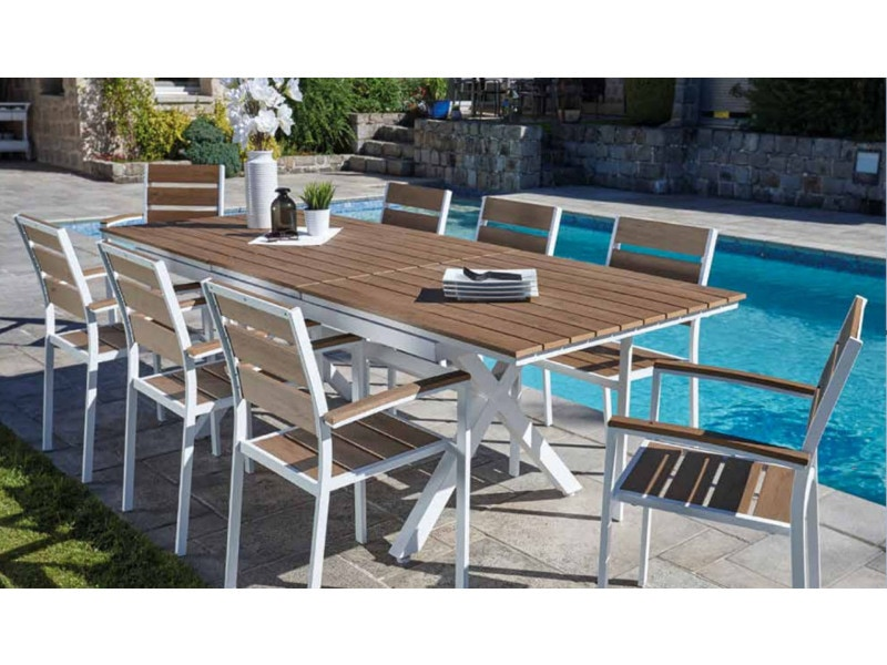 Ensemble de jardin table extensible et 8 fauteuils en ...