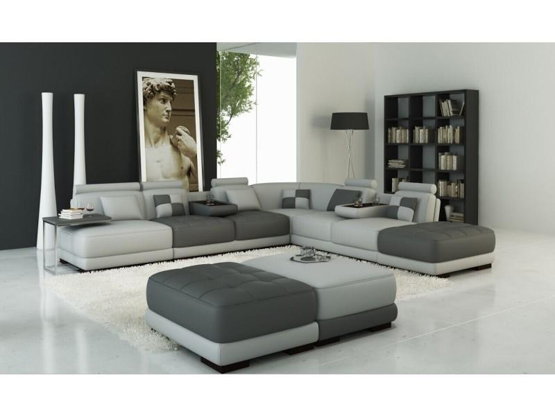 Canapé panoramique en cuir gris clair et gris foncé design malaga-