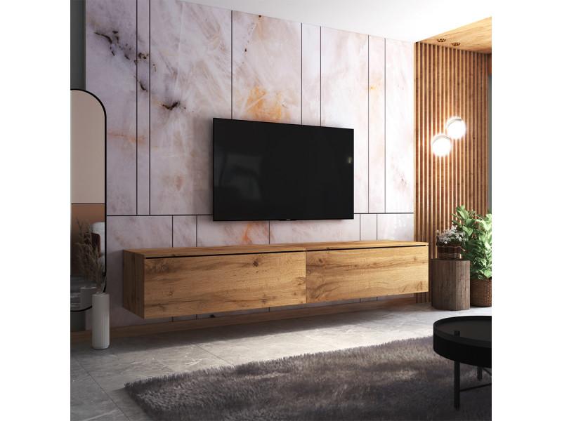 Meuble tv - skylara - 200 cm - chêne wotan