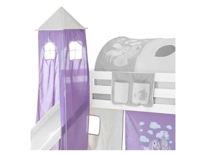 donjon tour tente pour lit sur lev avec toboggan motif princesse lilas et blanc vente de lit. Black Bedroom Furniture Sets. Home Design Ideas