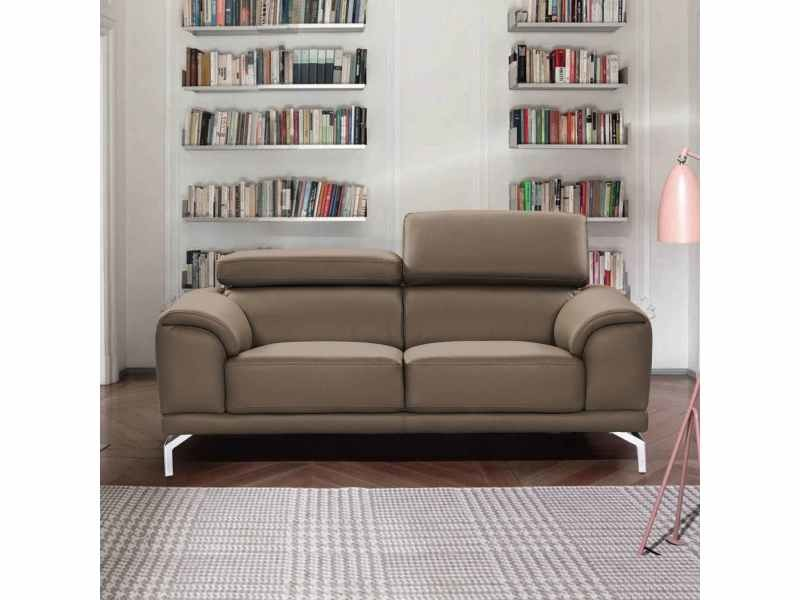 Canapé design contemporain marron 2 places britta