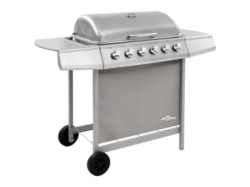 Distingué électroménager de cuisine gamme vienne barbecue gril à gaz avec 6 brûleurs argenté
