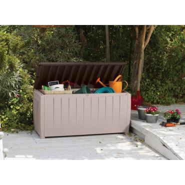 Coffre de jardin avec assise marron et beige COM_666071 - Vente de ...