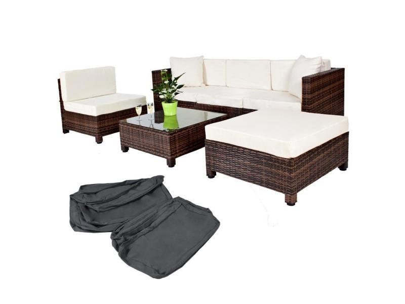 salon de jardin rotin r sine tress synth tique marron coussins housses helloshop26 2108002. Black Bedroom Furniture Sets. Home Design Ideas