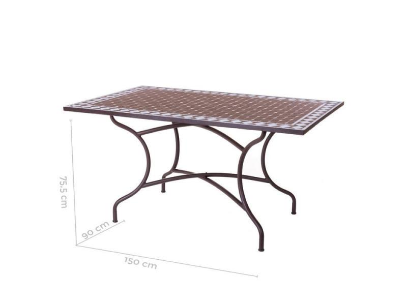 Table de repas céramique mosaïque/fer forgé - lombok - l 150 ...