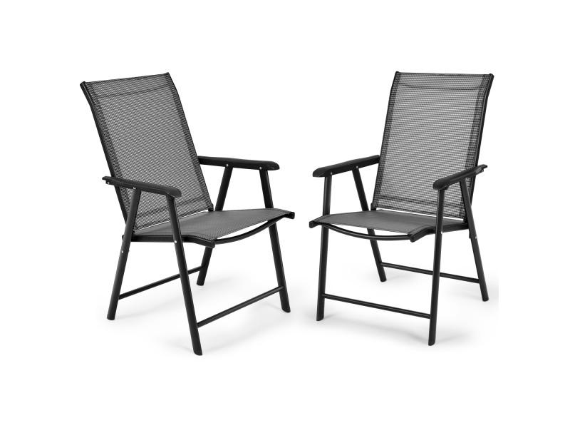 Giantex lot de 2 chaises de jardin pliantes avec accoudoir dossier haut cadre en métal charge 100 kg pour extérieur camping plage