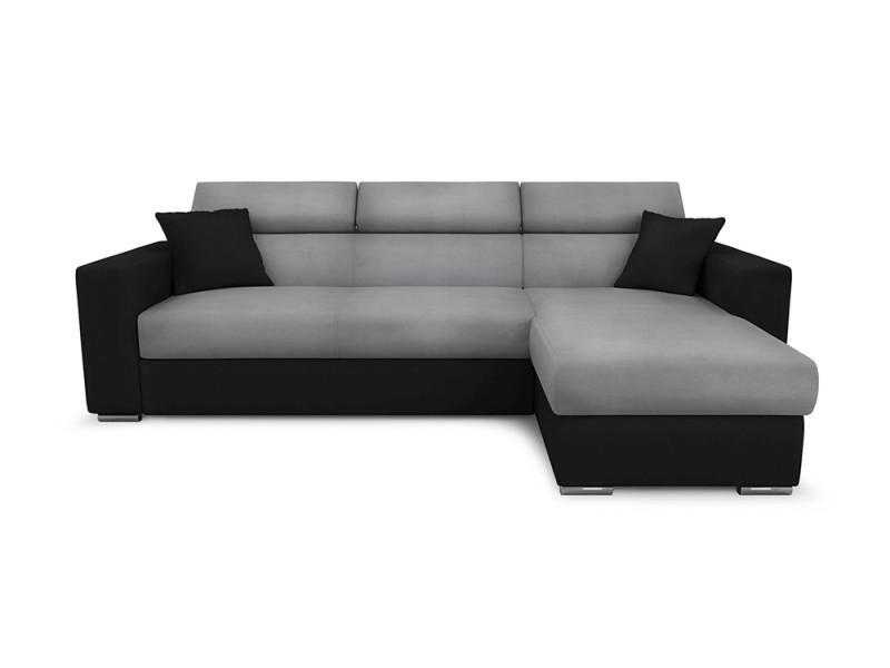 Canapé d'angle leslie convertible et réversible en simili et microfibre - couleur - gris / noir