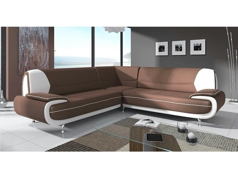 Canapé d'angle design marron et blanc marita xl-