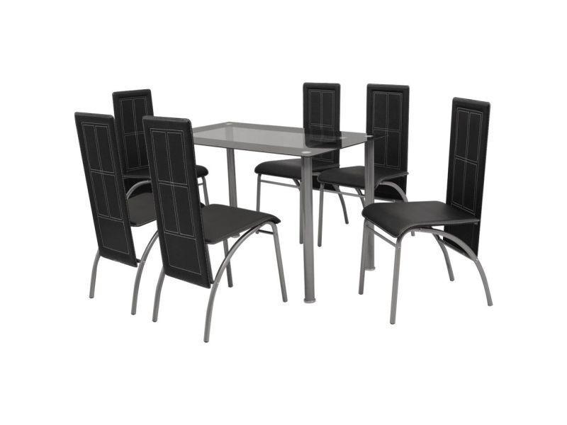 Vidaxl ensemble à dîner sept pièces noir - Vente de Table - Conforama f485971e77d